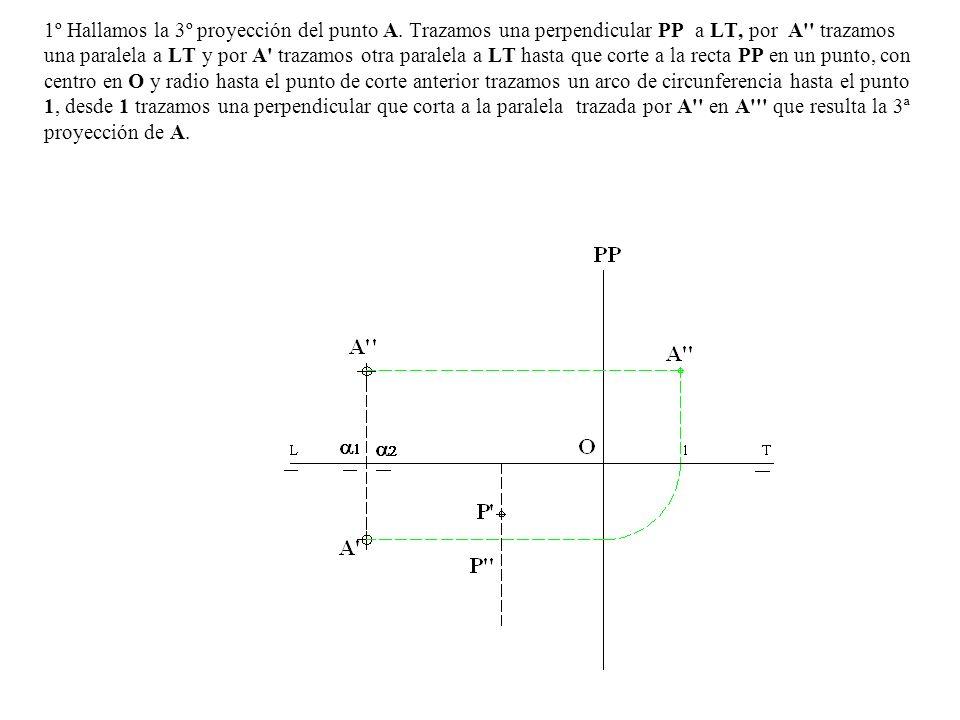 1º Hallamos la 3º proyección del punto A. Trazamos una perpendicular PP a LT, por A'' trazamos una paralela a LT y por A' trazamos otra paralela a LT