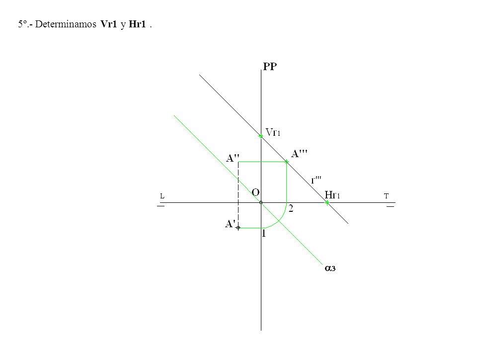 6º.- Desabatimos las trazas Vr1 y Hr1 y la recta r y tenemos las trazas Vr y Hr de la recta r=r-r que pasa por A y es paralela al 2º bisector