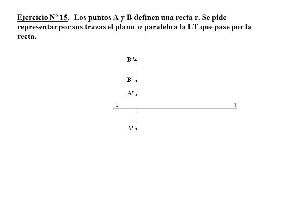 Ejercicio Nº 15.- Los puntos A y B definen una recta r. Se pide representar por sus trazas el plano α paralelo a la LT que pase por la recta.