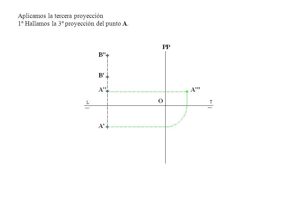 Aplicamos la tercera proyección 1º Hallamos la 3º proyección del punto A.