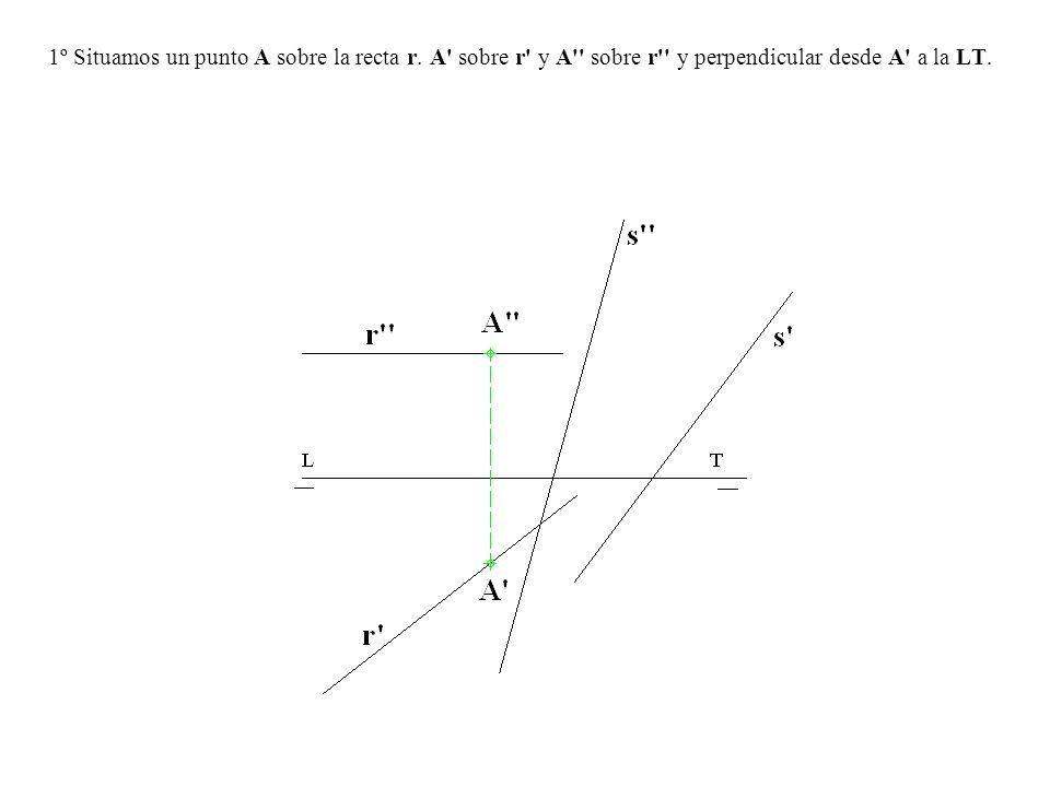 1º Situamos un punto A sobre la recta r. A' sobre r' y A'' sobre r'' y perpendicular desde A' a la LT.
