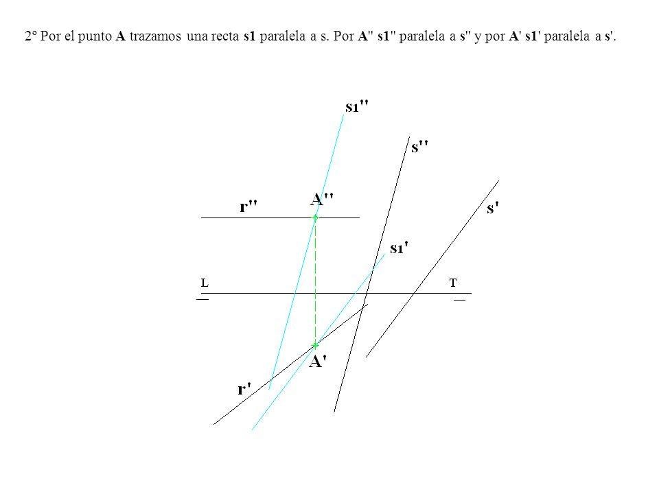 2º Por el punto A trazamos una recta s1 paralela a s. Por A'' s1'' paralela a s'' y por A' s1' paralela a s'.