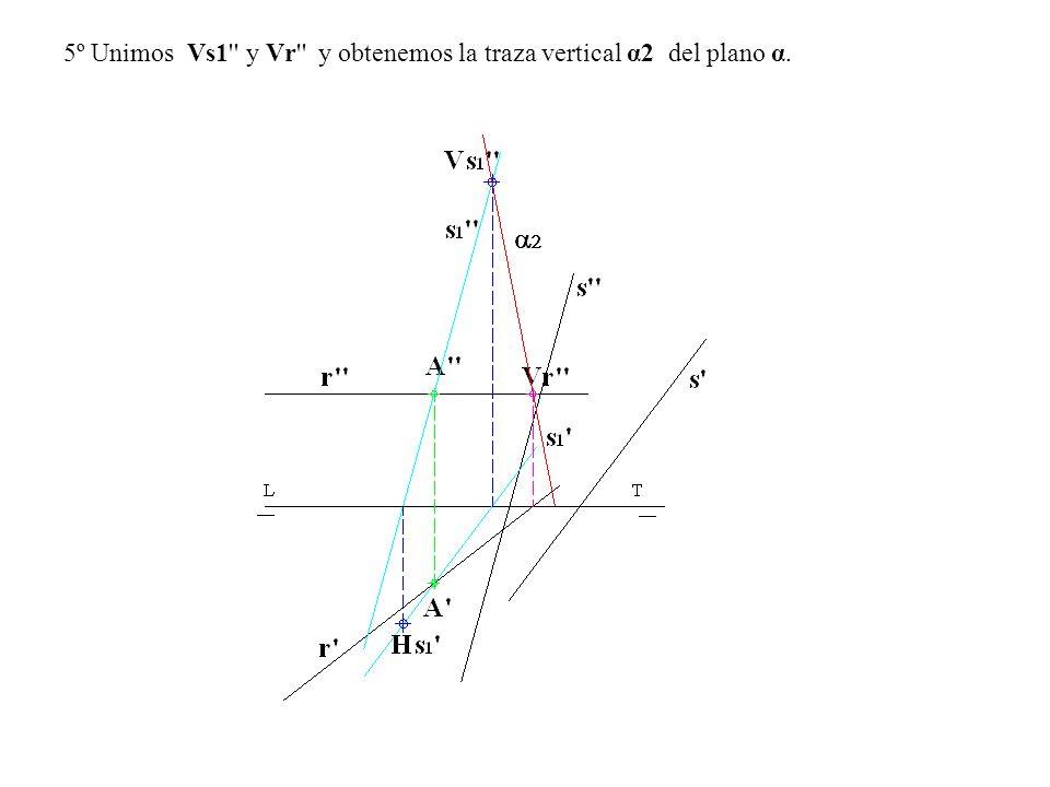 5º Unimos Vs1'' y Vr'' y obtenemos la traza vertical α2 del plano α.