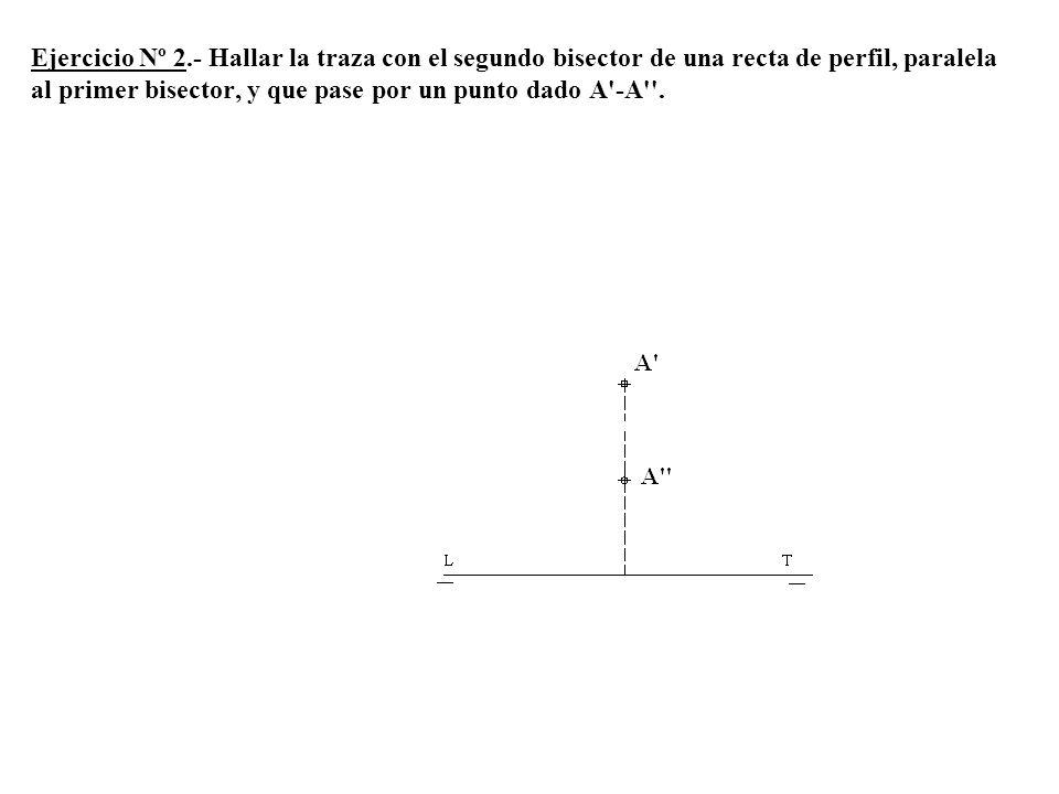 4º Por 1 trazamos una paralela a LT y obtenemos α2 y hacemos centro en O y radio O-2 trazamos un arco y obtenemos el punto 3 por el que pasa α1 paralela a LT.
