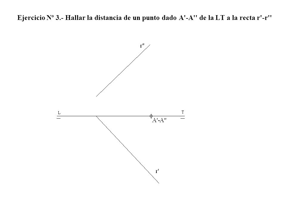 Ejercicio Nº 3.- Hallar la distancia de un punto dado A'-A'' de la LT a la recta r'-r''
