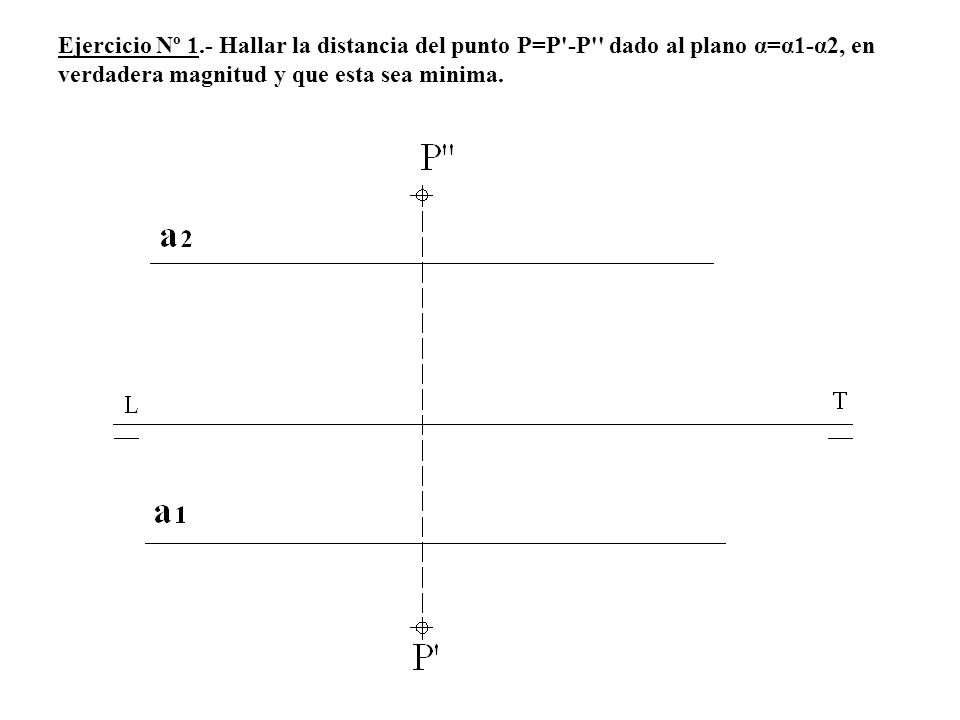 Ejercicio Nº 1.- Hallar la distancia del punto P=P'-P'' dado al plano α=α1-α2, en verdadera magnitud y que esta sea minima.
