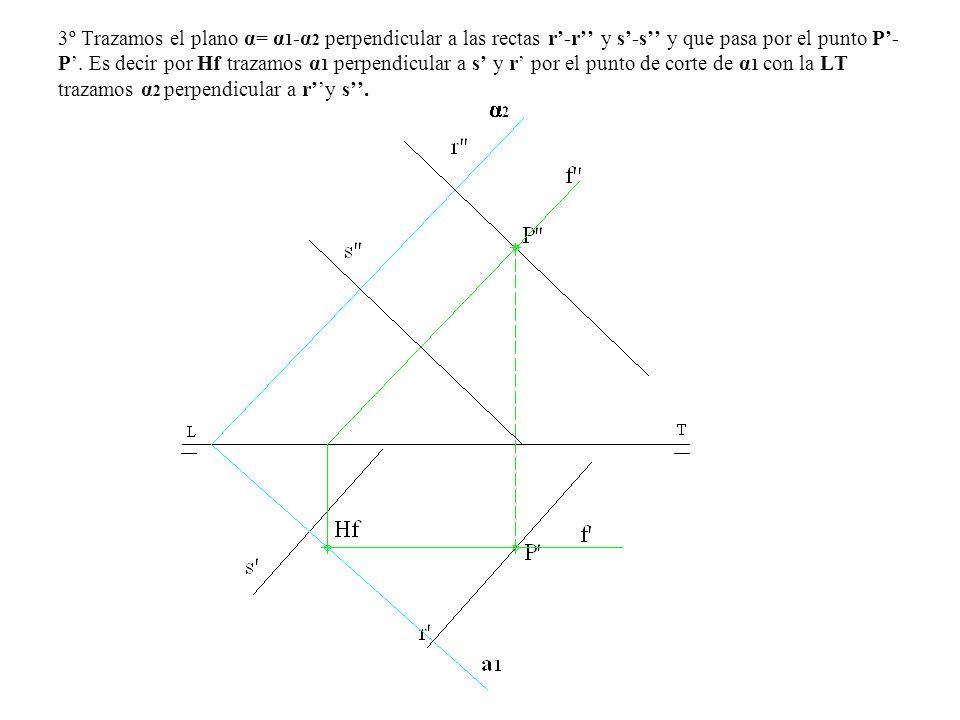 3º Trazamos el plano α= α 1 -α 2 perpendicular a las rectas r-r y s-s y que pasa por el punto P- P. Es decir por Hf trazamos α 1 perpendicular a s y r