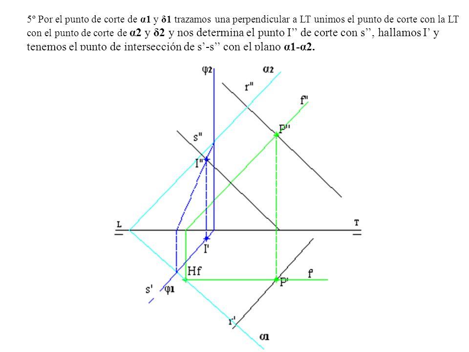 5º Por el punto de corte de α1 y δ1 trazamos una perpendicular a LT unimos el punto de corte con la LT con el punto de corte de α2 y δ2 y nos determin