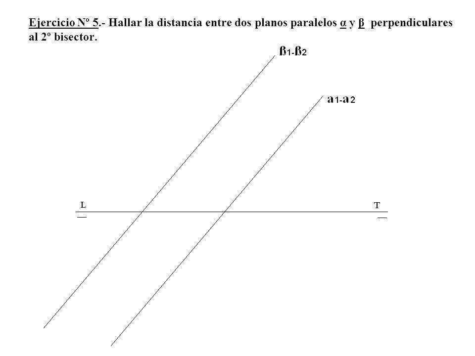 Ejercicio Nº 5.- Hallar la distancia entre dos planos paralelos α y β perpendiculares al 2º bisector.