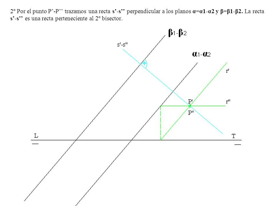 2º Por el punto P-P trazamos una recta s-s perpendicular a los planos α=α1-α2 y β=β1-β2. La recta s-s es una recta perteneciente al 2º bisector.