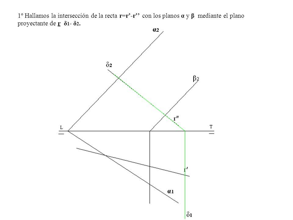 1º Hallamos la intersección de la recta r=r-r con los planos α y β mediante el plano proyectante de r δ 1 - δ 2.