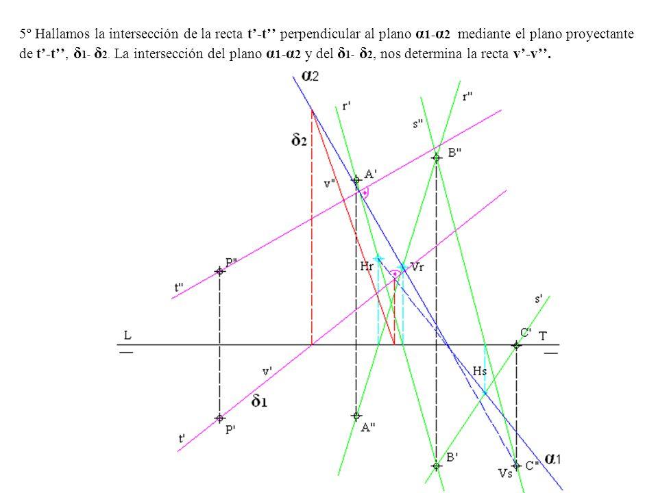 5º Hallamos la intersección de la recta t-t perpendicular al plano α 1- α 2 mediante el plano proyectante de t-t, δ 1- δ 2. La intersección del plano