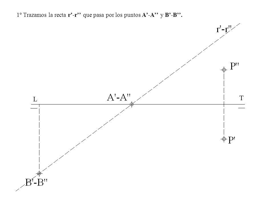 1º Trazamos la recta r-r que pasa por los puntos A-A y B-B.