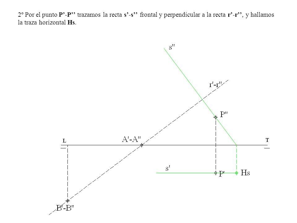 2º Por el punto P-P trazamos la recta s-s frontal y perpendicular a la recta r-r, y hallamos la traza horizontal Hs.