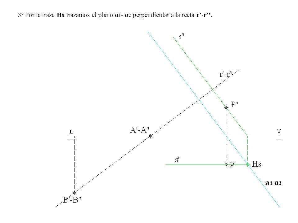 3º Por la traza Hs trazamos el plano α 1 - α 2 perpendicular a la recta r-r.