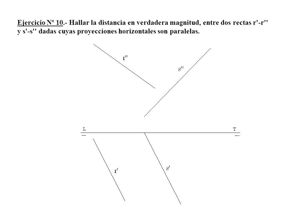 Ejercicio Nº 10.- Hallar la distancia en verdadera magnitud, entre dos rectas r'-r'' y s'-s'' dadas cuyas proyecciones horizontales son paralelas.