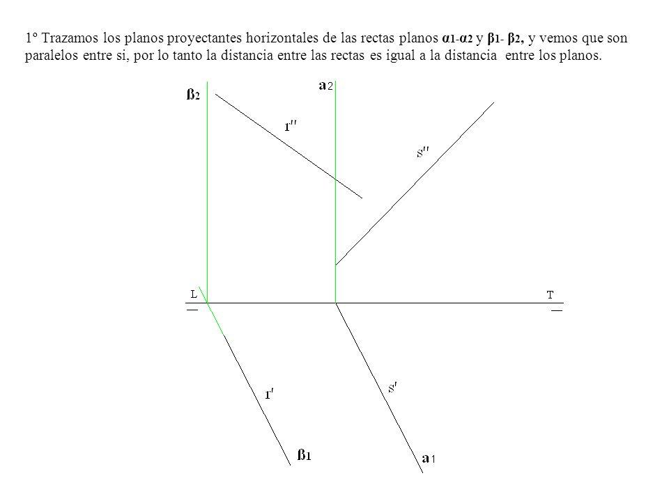 1º Trazamos los planos proyectantes horizontales de las rectas planos α 1- α 2 y β 1- β 2, y vemos que son paralelos entre si, por lo tanto la distanc