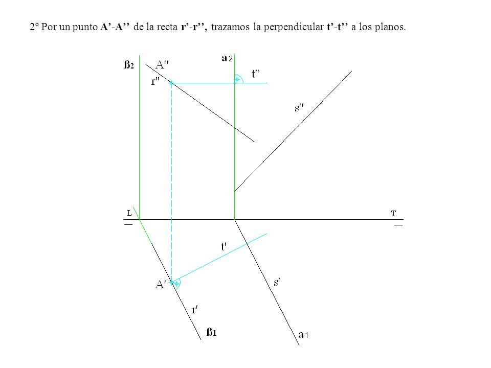 2º Por un punto A-A de la recta r-r, trazamos la perpendicular t-t a los planos.