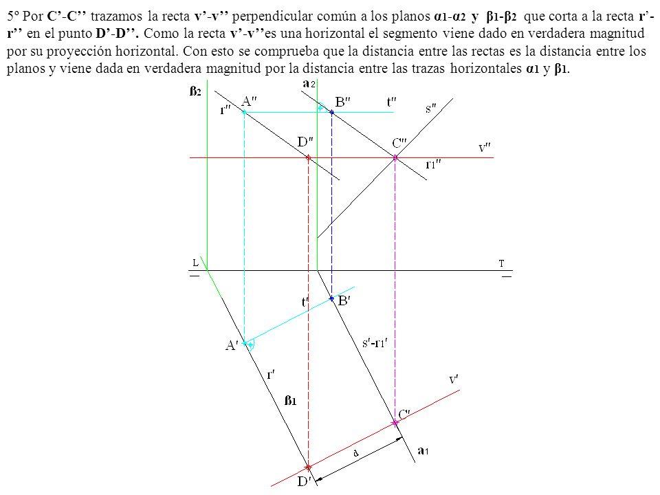 5º Por C-C trazamos la recta v-v perpendicular común a los planos α 1 -α 2 y β 1 -β 2 que corta a la recta r- r en el punto D-D. Como la recta v-ves u