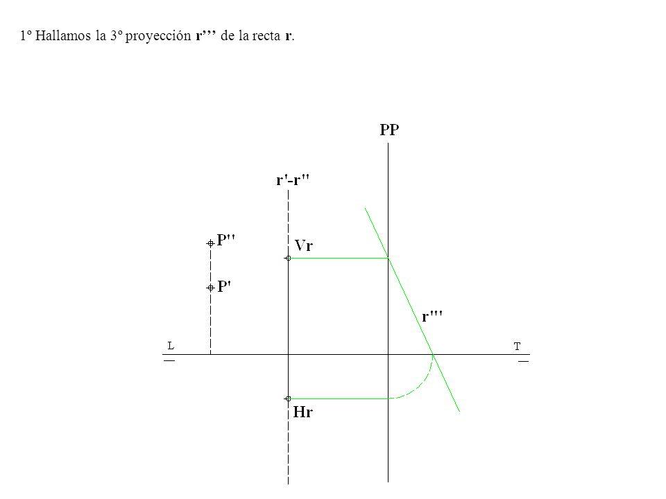3º.-Trazamos el plano δ 1 -δ 2 proyectante vertical de la recta s-s para hallar la intersección de s-s con el plano β=β1-β2.