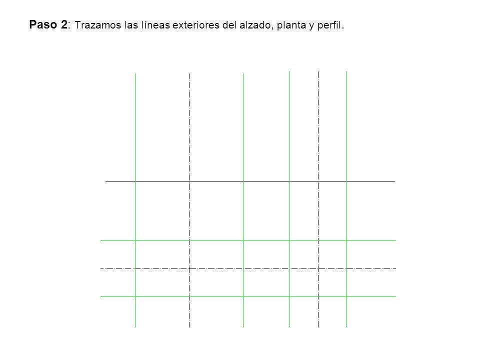 Paso 2: Trazamos las líneas exteriores del alzado, planta y perfil.