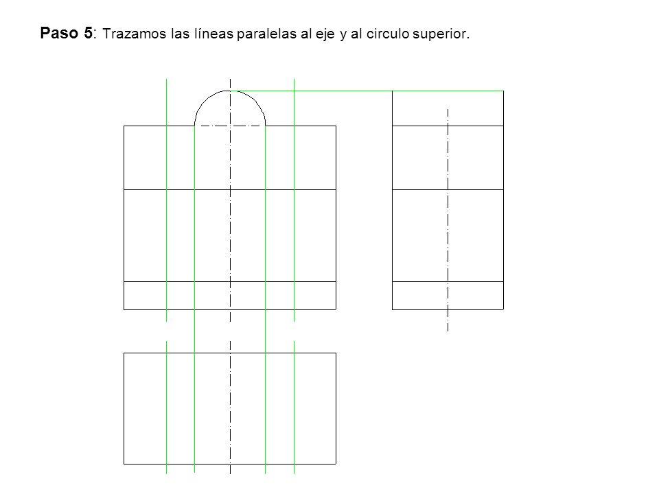 Paso 5: Trazamos las líneas paralelas al eje y al circulo superior.