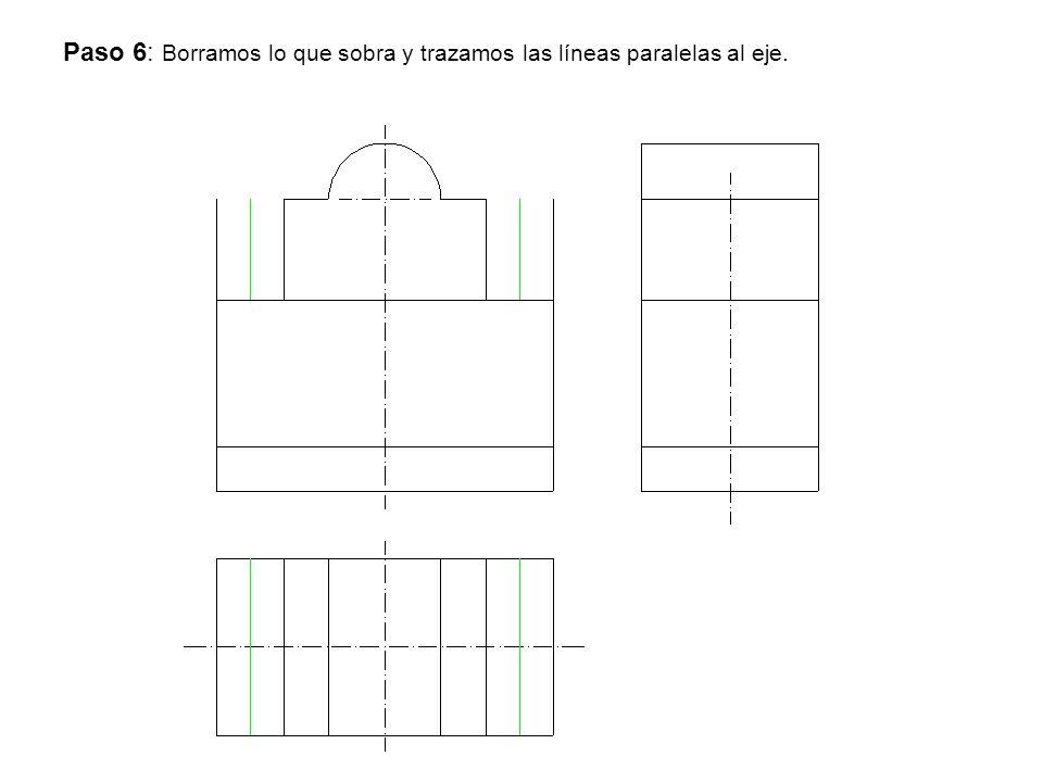 Paso 6: Borramos lo que sobra y trazamos las líneas paralelas al eje.
