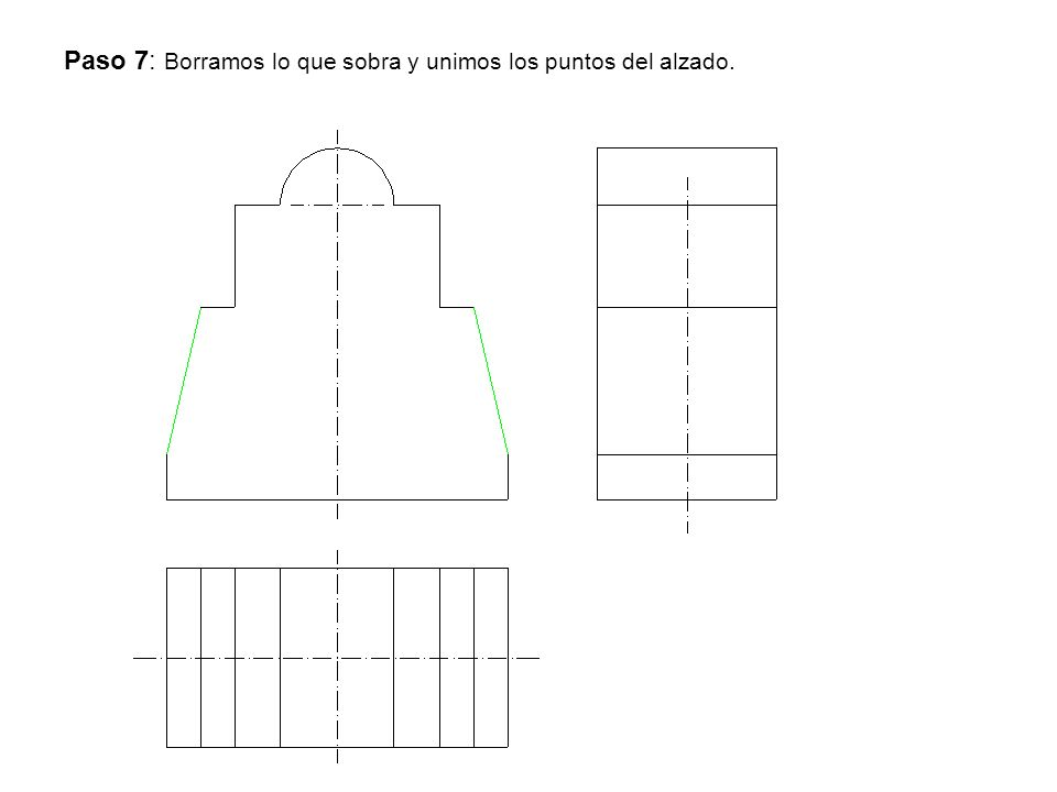 Paso 7: Borramos lo que sobra y unimos los puntos del alzado.