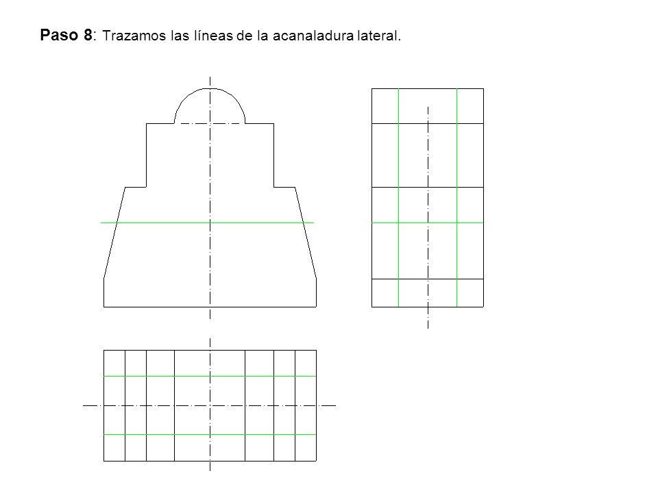 Paso 8: Trazamos las líneas de la acanaladura lateral.