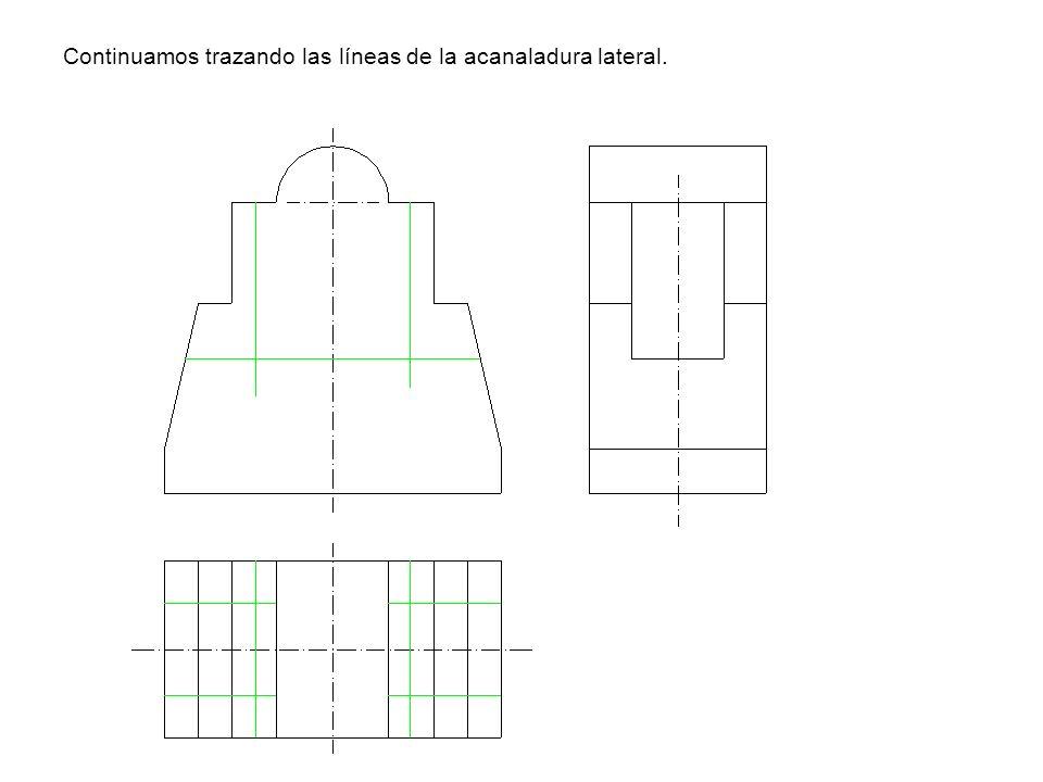Continuamos trazando las líneas de la acanaladura lateral.