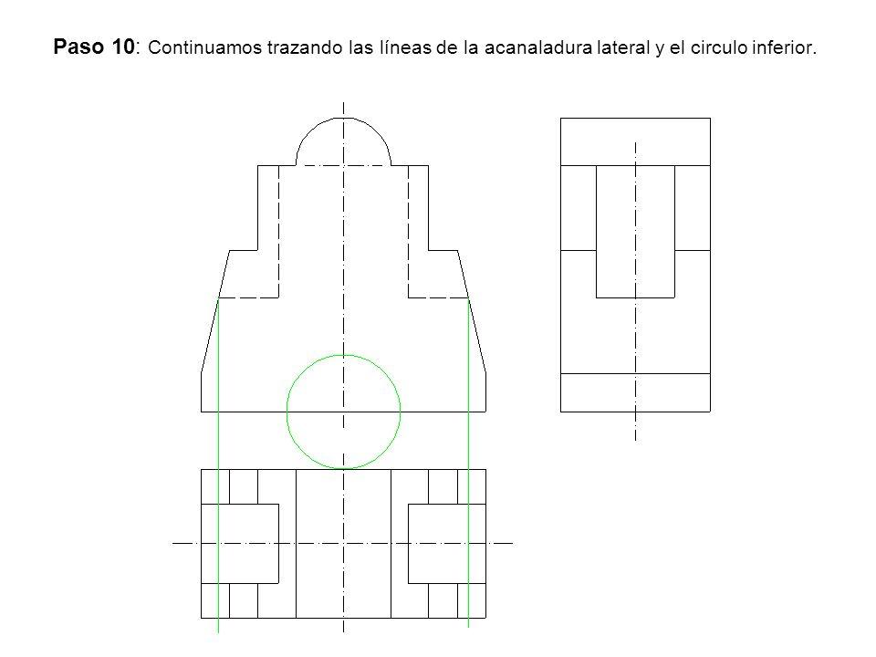 Paso 10: Continuamos trazando las líneas de la acanaladura lateral y el circulo inferior.