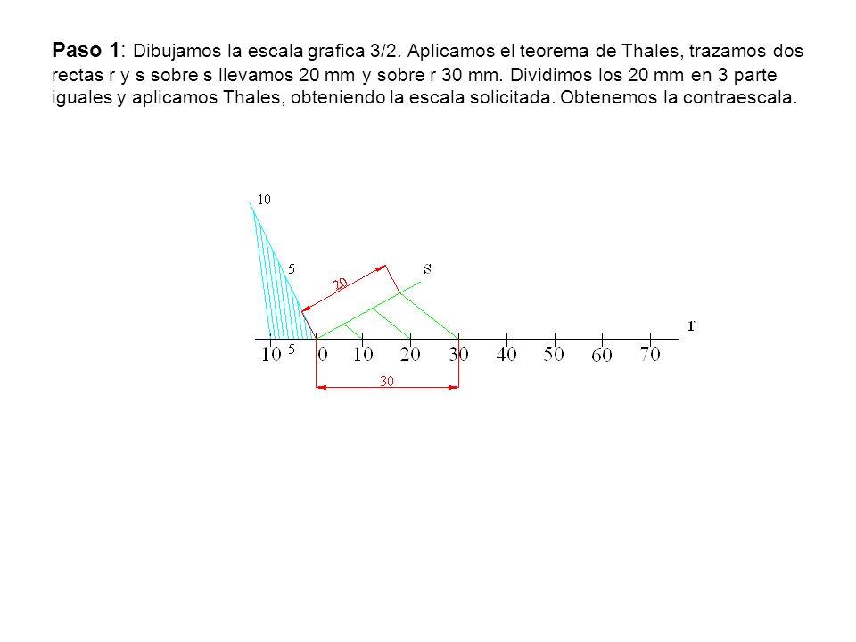 Paso 1: Dibujamos la escala grafica 3/2. Aplicamos el teorema de Thales, trazamos dos rectas r y s sobre s llevamos 20 mm y sobre r 30 mm. Dividimos l