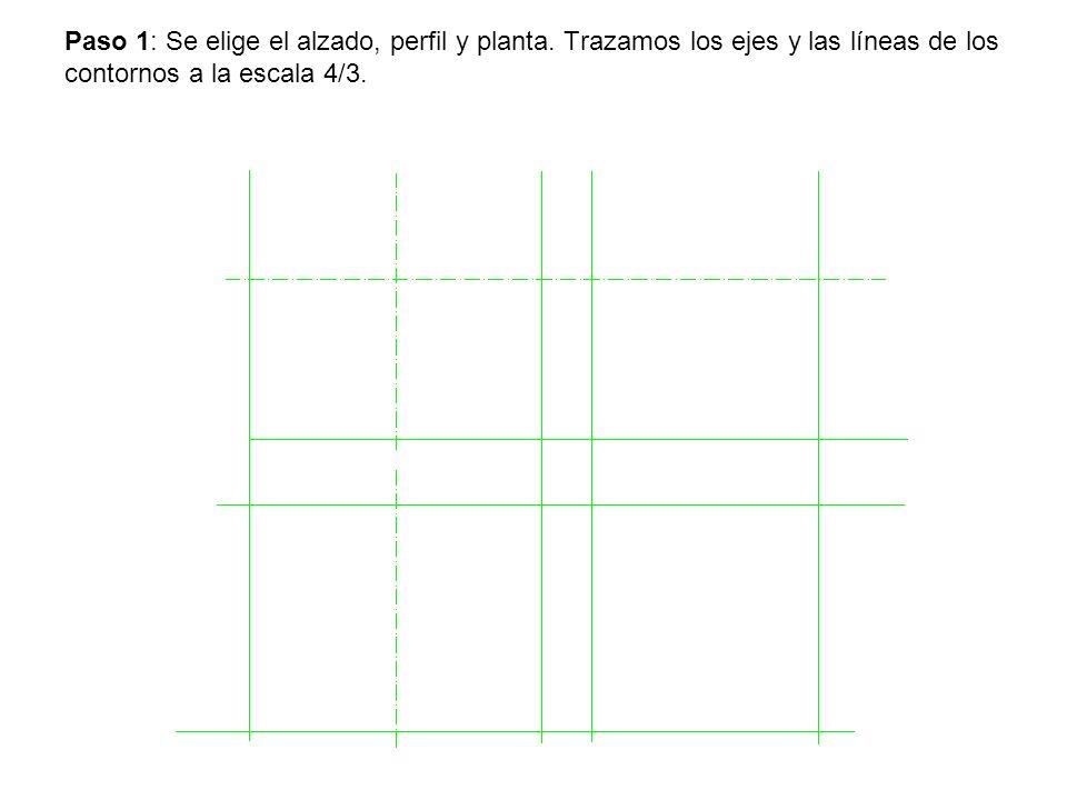Paso 1: Se elige el alzado, perfil y planta. Trazamos los ejes y las líneas de los contornos a la escala 4/3.