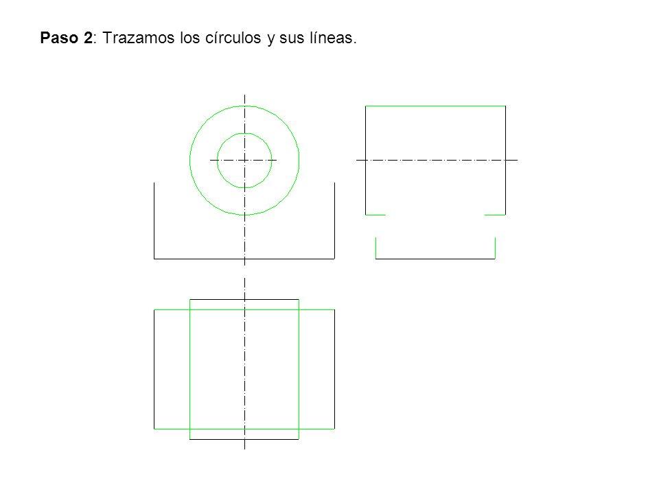 Paso 2: Trazamos los círculos y sus líneas.