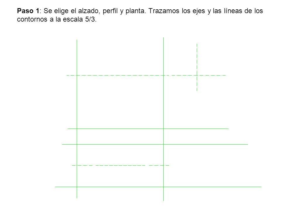 Paso 1: Se elige el alzado, perfil y planta. Trazamos los ejes y las líneas de los contornos a la escala 5/3.