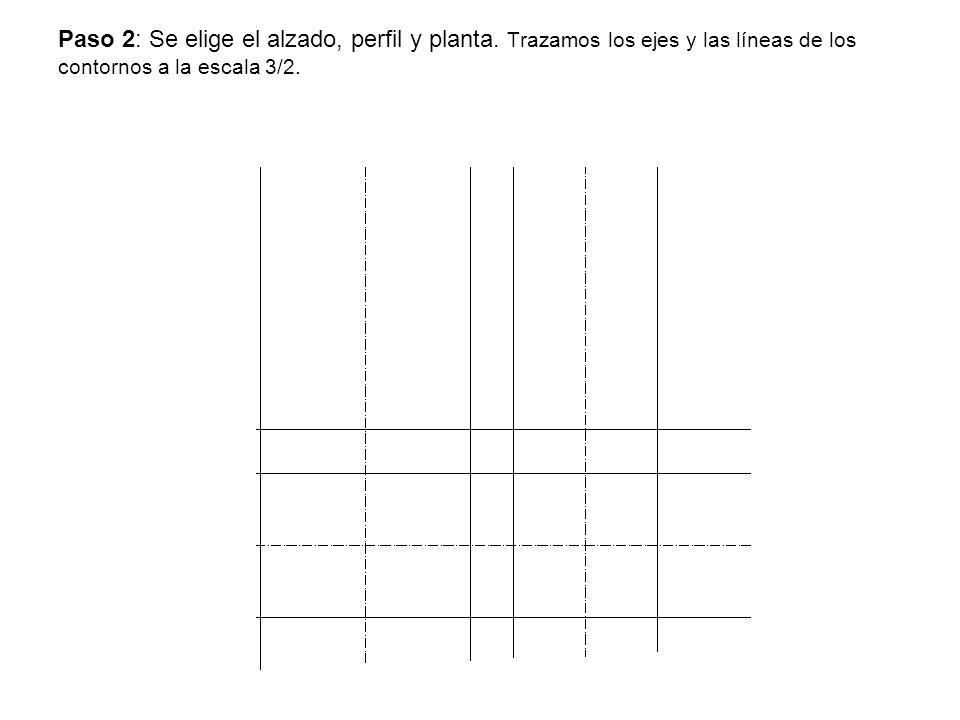 Paso 2: Se elige el alzado, perfil y planta. Trazamos los ejes y las líneas de los contornos a la escala 3/2.