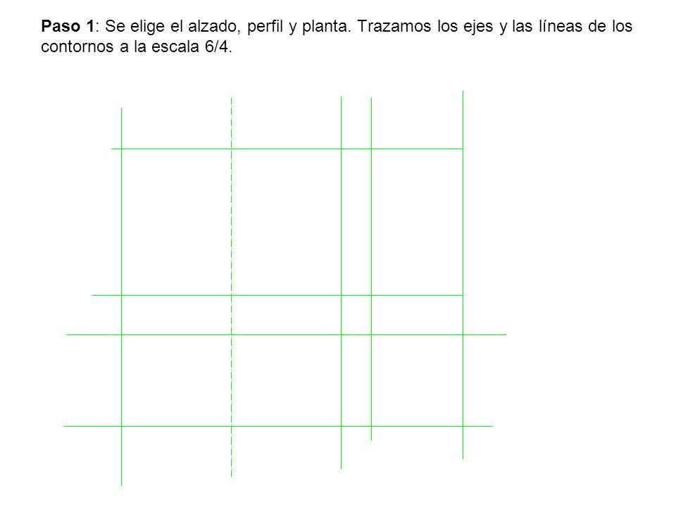 Paso 1: Se elige el alzado, perfil y planta. Trazamos los ejes y las líneas de los contornos a la escala 6/4.