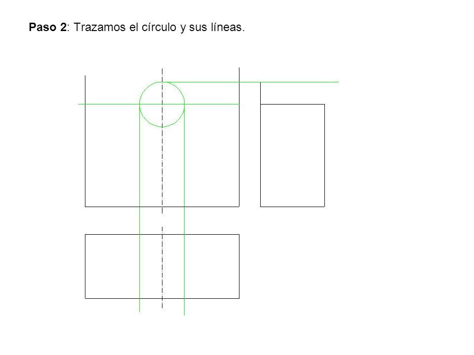 Paso 2: Trazamos el círculo y sus líneas.