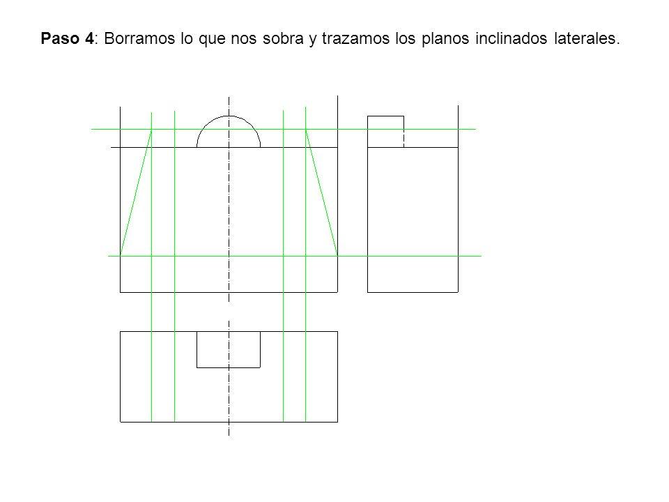 Paso 4: Borramos lo que nos sobra y trazamos los planos inclinados laterales.