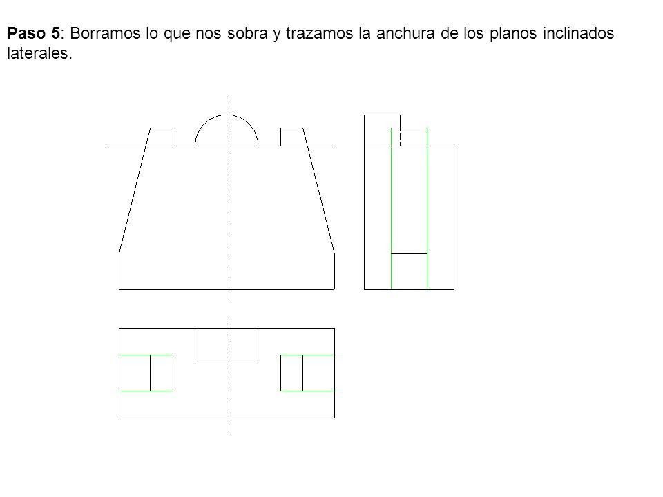 Paso 5: Borramos lo que nos sobra y trazamos la anchura de los planos inclinados laterales.