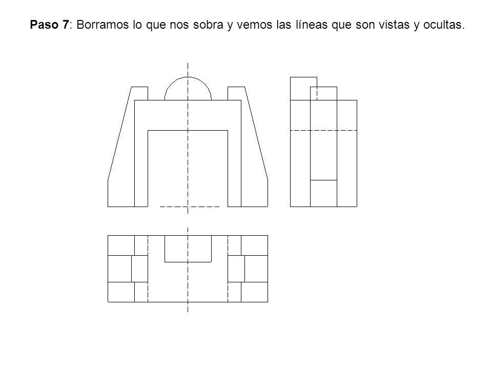 Paso 7: Borramos lo que nos sobra y vemos las líneas que son vistas y ocultas.