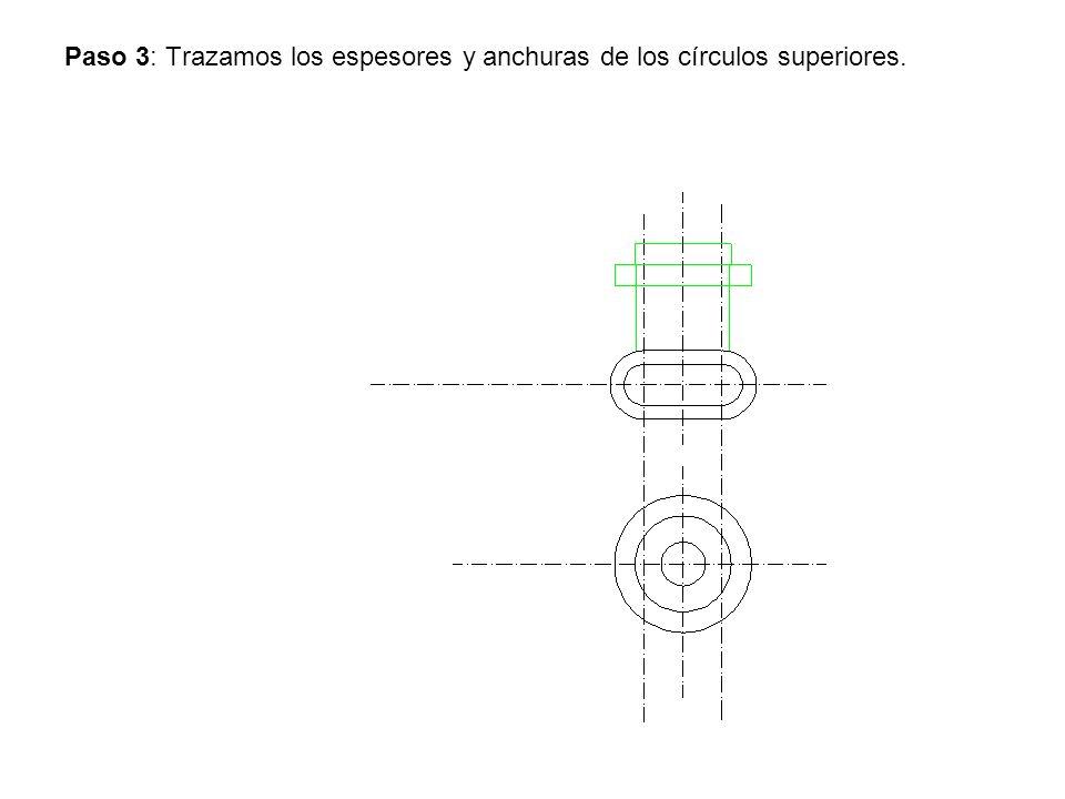 Paso 3: Trazamos los espesores y anchuras de los círculos superiores.