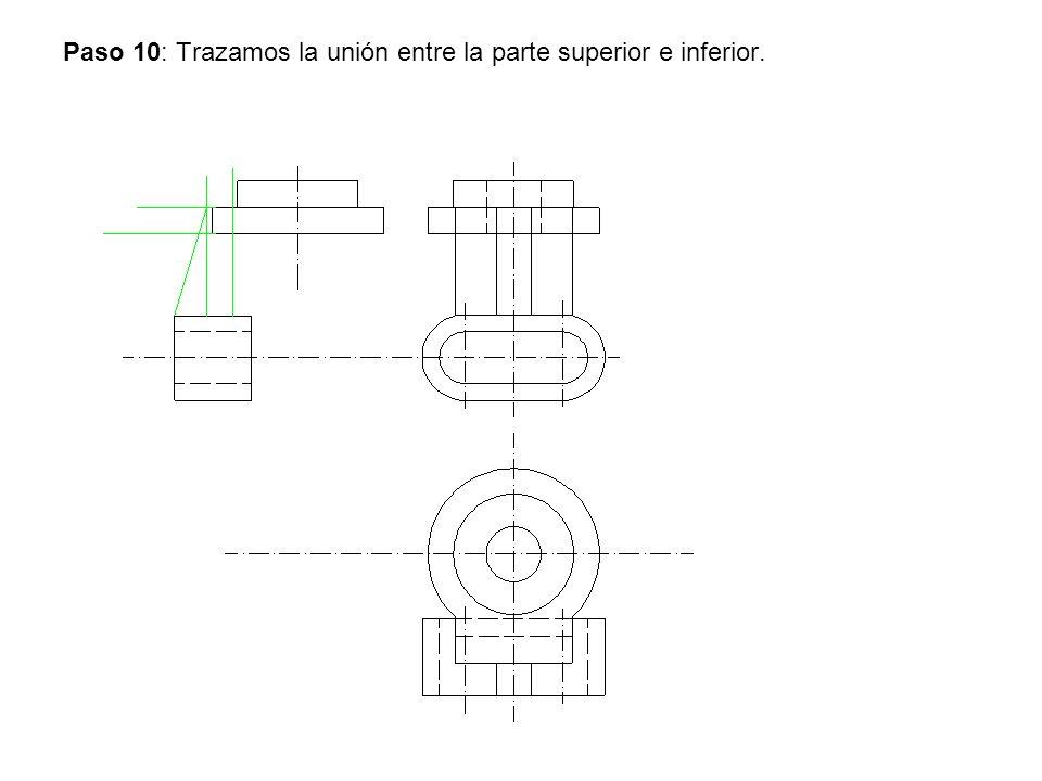 Paso 10: Trazamos la unión entre la parte superior e inferior.