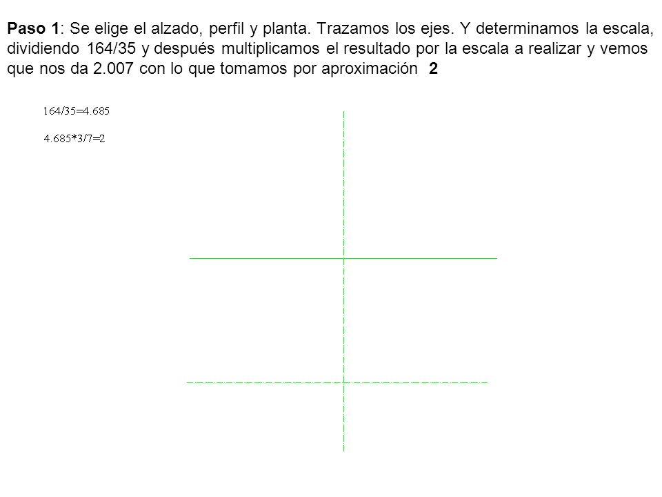 Paso 1: Se elige el alzado, perfil y planta. Trazamos los ejes. Y determinamos la escala, dividiendo 164/35 y después multiplicamos el resultado por l