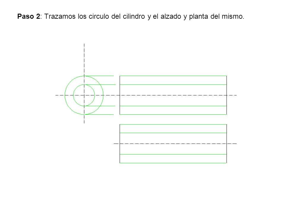 Paso 2: Trazamos los circulo del cilindro y el alzado y planta del mismo.