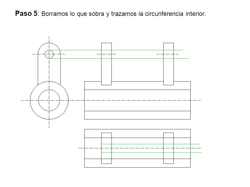 Paso 5: Borramos lo que sobra y trazamos la circunferencia interior.