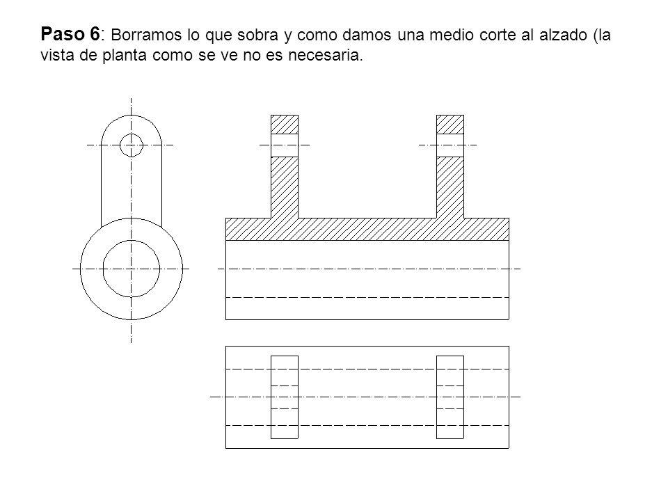 Paso 6: Borramos lo que sobra y como damos una medio corte al alzado (la vista de planta como se ve no es necesaria.