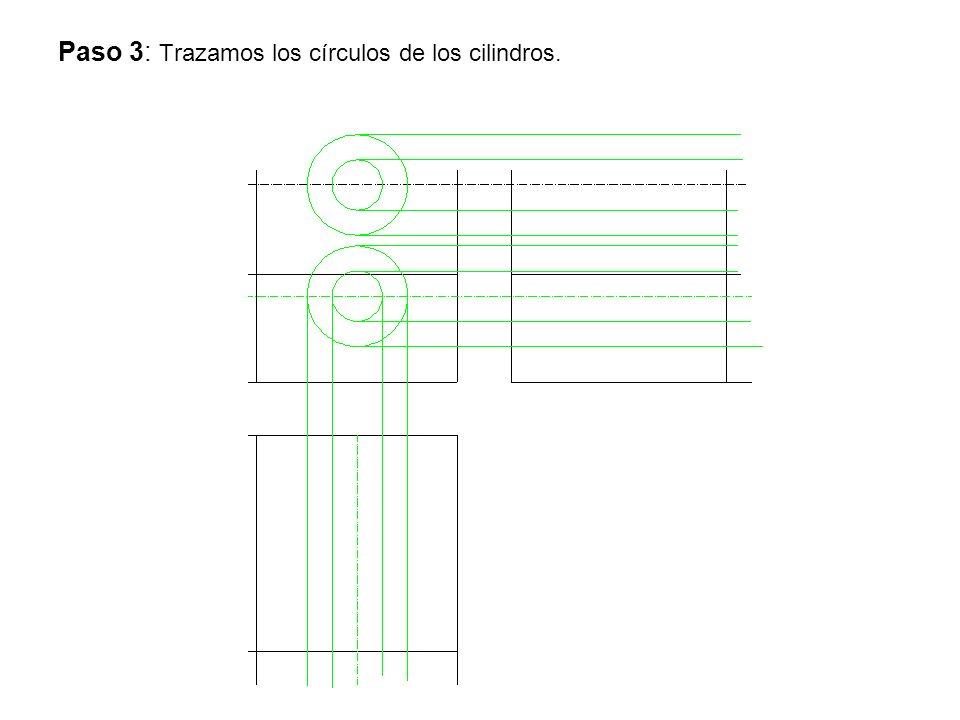 Paso 3: Trazamos los círculos de los cilindros.