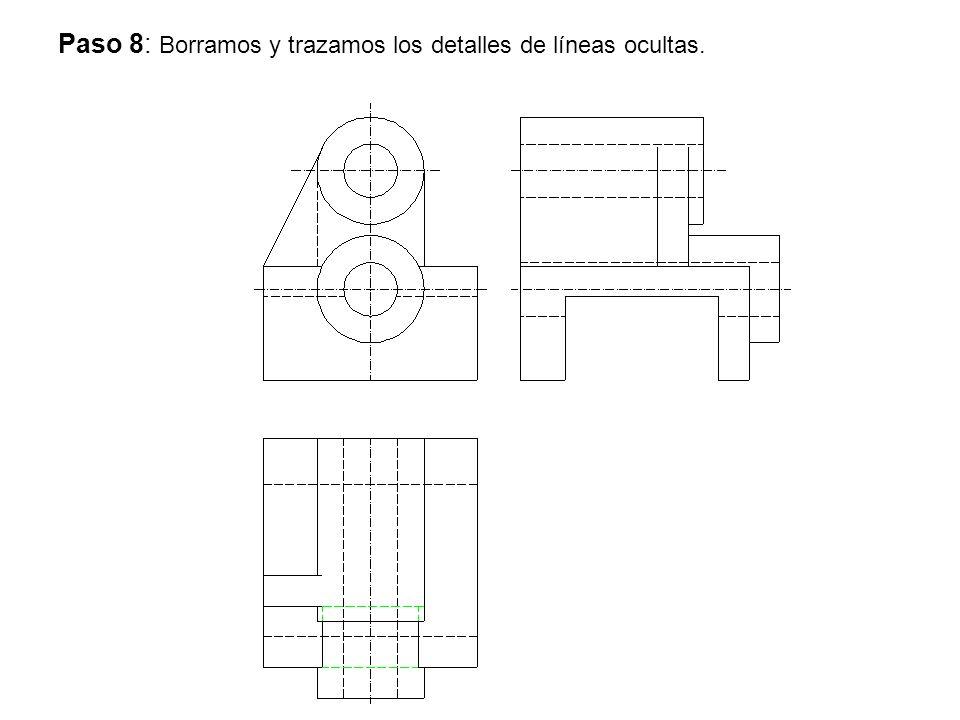 Paso 8: Borramos y trazamos los detalles de líneas ocultas.