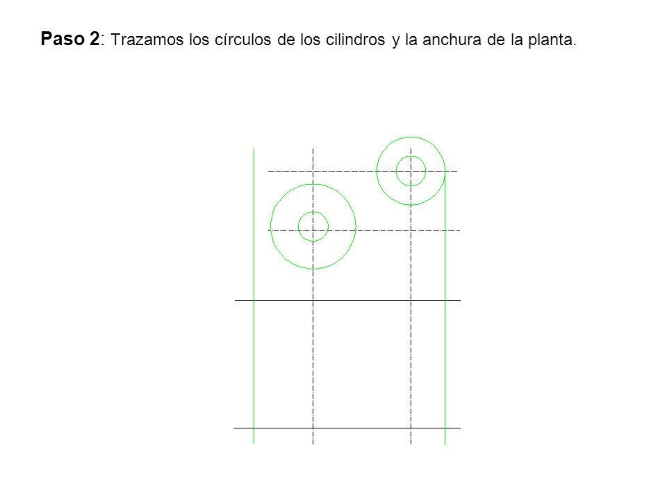Paso 2: Trazamos los círculos de los cilindros y la anchura de la planta.
